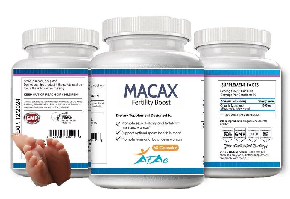 macax Health Organic Maca Fertility Increase Libido Sperm Count Motility 60 caps 1