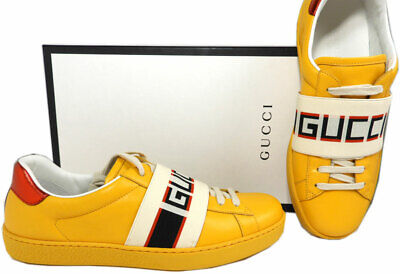 8.5 US / 7.5 G GUCCI New Ace Stripe Leather Sneakers Yellow Men's Shoes