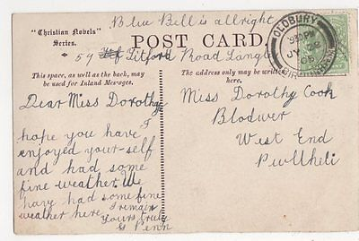 Miss Dorothy Cook, West End, Pwllheli 1905 Postcard, B114