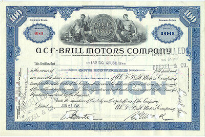 USA Amerika ACF-Brill Motors alte Aktie 1945 dekorativ
