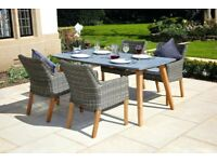 'Deco' Sleek Patio Dining Table - all-weather, modern grey table top & acacia legs, seats 6-8