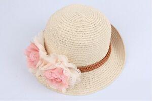 Sweet  Kids Children Boys Girls Toddler Flowers Sun Cap Straw Hat UK SELLER