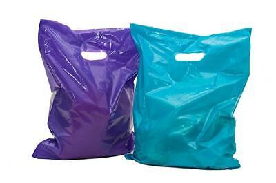 100 Glossy Purple and Teal Plastic Merchandise Bags w/die cut handles...