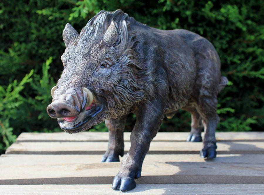 Gartenfigur Gartendeko Wutz Schwein Eber Wildsau Keiler Gartendekoration 4417