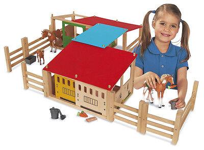 Eichhorn Pferdestall aus Holz 70x60 cm 29-teilig Holzspielzeug Pferde Stall