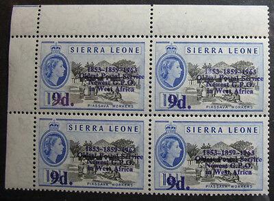 1963 SIERRA LEONE 9d SCOTT# 253 S.G.# 275 UNUSED BLOCK NH CS08056A