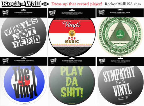 Music Themed Turntable Felt Slip Mats - 9 designs available
