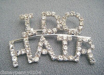 I Do Hair Arc Cosmetologist Beautician Hair Stylist Rhinestone Pin -1 1/2 Inches