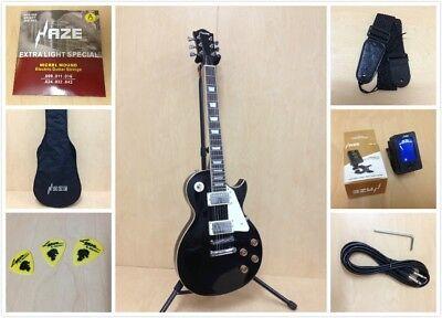 4/4 Haze 277BK LP Style Solid Body Electric Guitar,Black+Free Gig Bag,Strap,Pick