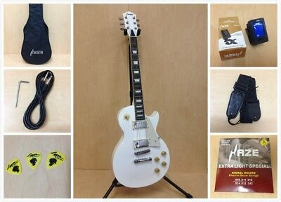 4/4 Haze 277WH LP Style Solid Body Electric Guitar,White +Free Gig Bag,Strap