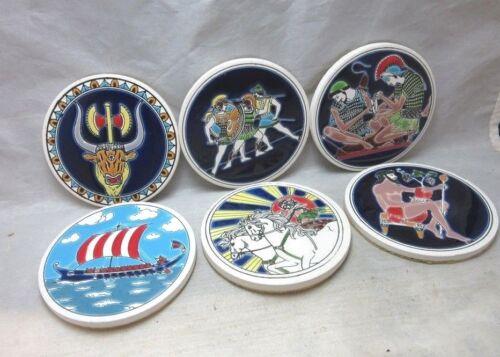 6 vintage Lito Greek ceramic tile pottery coasters