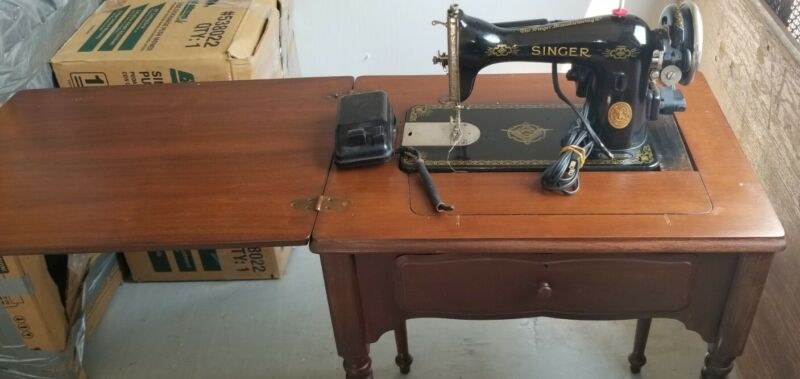Vintage SINGER Sewing Machine with Table Stand, Model AD907026