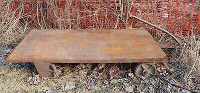 Antique Steel Industrial Cart Pull Wagon 6 Feet X 42 Inch Bed. Metal Heavy Duty