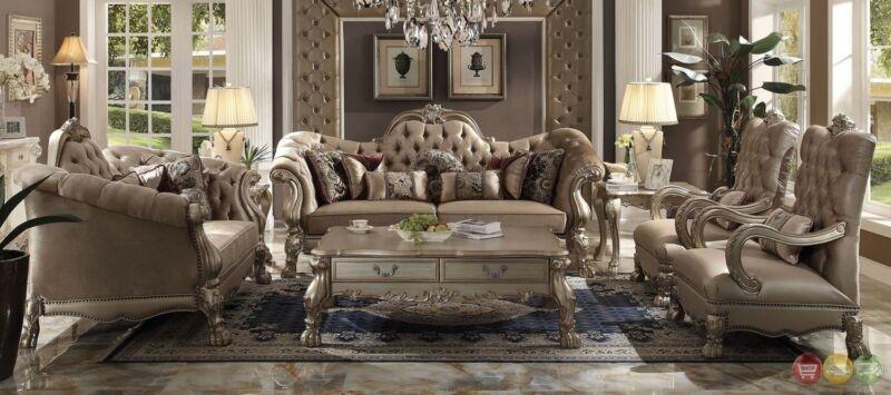 Dresden Victorian Style Bone Velvet Upholstered 3 Piece Living Room Sofa Set