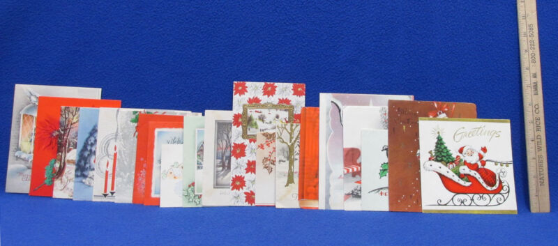 Vintage Christmas Cards Embossed Bright Colors Made In USA 20 Lot