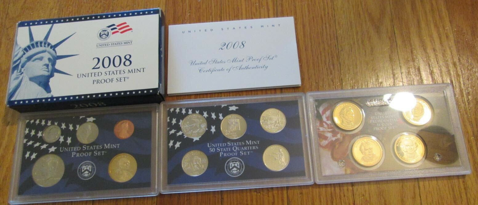 2008 Proof Set U. S. Mint 14 Coin Set State Quarters President Dollar COA  - $32.90