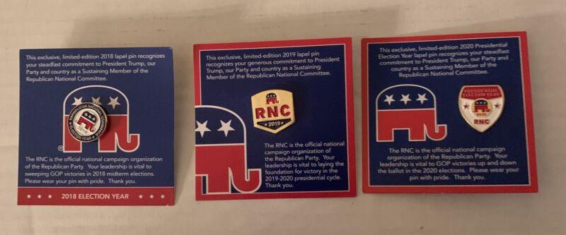 Republican RNC Pins  2018, 2019, 2020 New