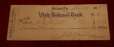 1891 Salt Lake City Utah State National Bank  Check No 9 J E Openshaw