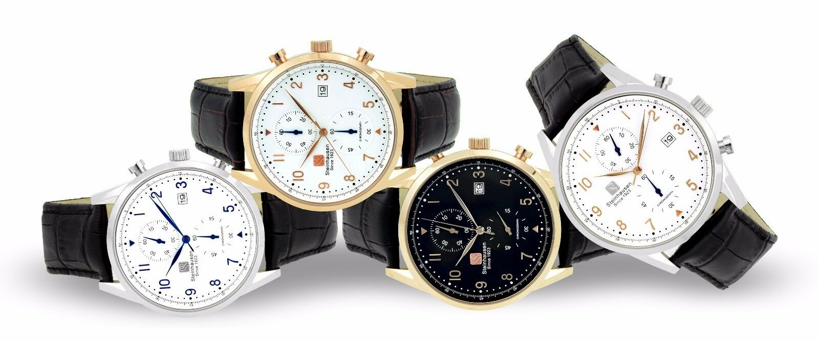 men s lugano chronograph stainless steel leather