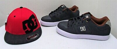 Men's DC Pure (Dark Shadow) Skate Shoes Size 7 And Red/Black  Men's DC Cap- New Dc Shoes Athletic Cap