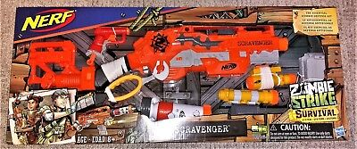 NERF Zombie Strike Survival System Scravenger Foam Dart Blaster with Accessories
