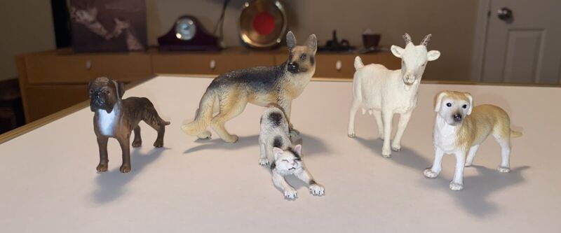 Schleich 3 Dogs, 1 Cat, 1 Goat Retired Lot