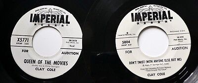 CLAY COLE lot of 2x45rpm singles IMPERIAL promo teen 1961 pop  Ct686