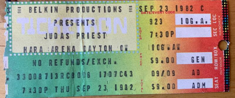 1982 Judas Priest Iron Maiden Hara Arena Dayton OH Concert Ticket Stub 9/23/82