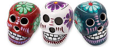 Day of the Dead Miniature Clay Sugar Skull 3 pc Set, Calavera Dia de Los Muertos