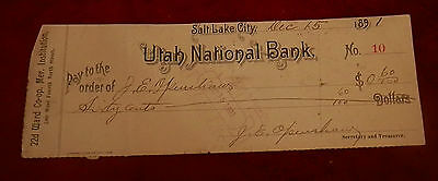 1891 Salt Lake City Utah State National Bank Check No 10 J E Openshaw 22Nd Ward