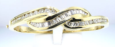 (2.1 CTW DIAMOND BRAID BANGLE BRACELET ROUND & BAGUETTE 14 KT YELLOW GOLD $4950)