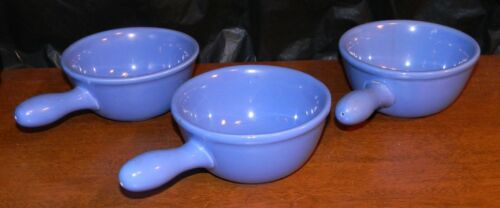 3 Blue Oxford Ware Stoneware French Onion Soup/Chili Handled Bowls