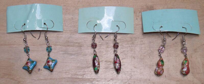 3 Sets Earrings Unbranded Silvery Metal Jeweled Enameled Lot #4 Mb