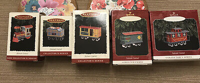 Lot 5 Hallmark Keepsake Ornaments series Yuletide Central. Trains set.
