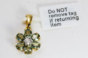BNWT 9ct GOLD Green Tourmaline & Topaz Flower-Shaped PENDANT -- & Gems TV COA