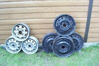 """ASSORTMENT OF STEEL PAINTED RIMS 13"""" 15"""" SOLID FORD, GM, HONDA"""