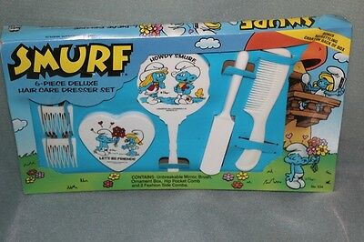 Smurfs 1982 Vintage 6-piece Deluxe Hair Care Dresser Set Brush, Mirror, Comb