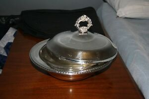 Birks Silver Plated serving dish with glass casserole