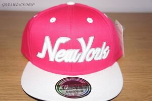 Pink Snapback Caps, Flat peak Fitted Baseball Bling Hats, Retro, Adults & Kids