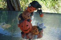 décoration illuminée halloween en porcelaine peinte à la main