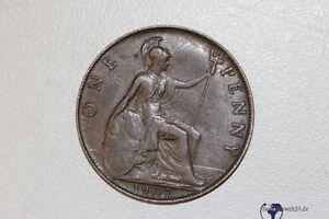 One Penny 1907 Edward VII in guter Erhaltung Grossbritannien