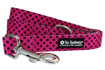 Black & Hot Pink Polka Dots - 5' Designer Cute Fun Fashion Dog Leash, S & L Hot Pink Dog Leash