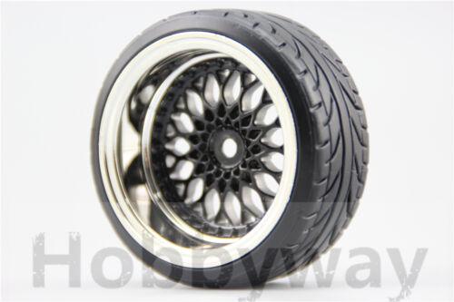 4pcs RC 1/10 Hard Pattern Drift Tires Tyre Wheel Rim Y12CK 3/6/9mm offset