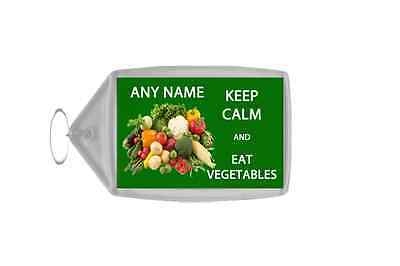 Keep Calm And Eat Vegetables Personalised Large Keyring
