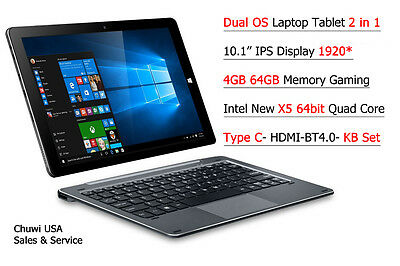 """10.1""""IPS intel X5 Windows 10/Android 5.1 Dual Boot 2-in-1 Tablet PC+keyboard set"""