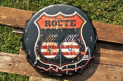 US Route 66 Embossed Bottle Cap Tin Metal Sign - America - USA - The Mother Road