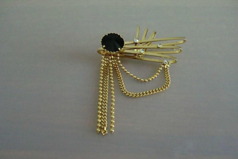 Gold Plated Brooch with Black Stone