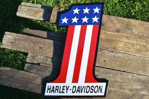 Harley Davidson # 1 Logo Embossed Tin Metal Sign - Bar and Shield - AMF