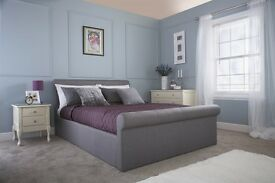 ** FREE DELIVERY ** Carolina Silver Upholstered Double Ottoman Storage Bed / Mattress Not Included