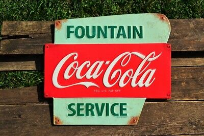 Coca Cola Fountain Service Embossed Tin Metal Sign   Vintage   Retro   Coke
